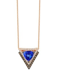 Le Vian Tanzanite 1 Ct. T.W. And Diamond 1 3 Ct. T.W. Geometric Pendant Necklace In 14K Rose Gold Purple