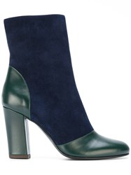 Michel Vivien Round Toe Boots Women Calf Leather Leather Suede 38 Blue