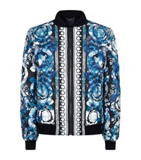 Versace Quilted Watercolour Silk Bomber Jacket Male