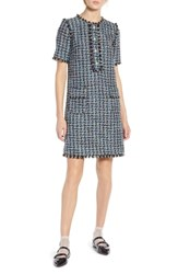 Halogen X Atlantic Pacific Fringe Tweed Dress Black Multi Tweed