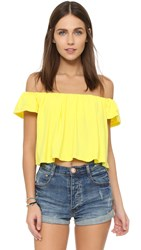 Susana Monaco Drapey Off The Shoulder Top Lemon Tonic