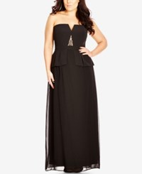 City Chic Plus Size Strapless Beaded Peplum Gown Black