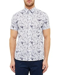 Ted Baker Leaf And Bird Printed Regular Fit Button Down Shirt White