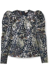 By Malene Birger Claude Ruched Metallic Brocade Top Storm Blue