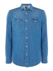 Wrangler Men's Western Denim Long Sleeve Shirt Blue