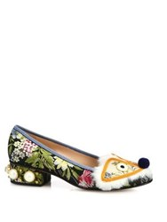 Gucci Kimberly Studded Floral Jacquard And Faux Fur Animal Flats Multi