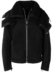 Les Hommes Structured Shearling Jacket Black
