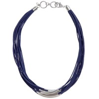 John Lewis Multi Row Cord Necklace Silver Navy