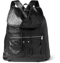 Balenciaga Creased Leather Backpack Black