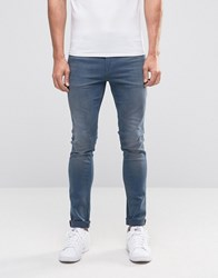 Asos Super Skinny Jeans In Smokey Blue Wash Mid Blue