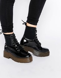 Blink Chunky Lace Up Ankle Boots Black Box Pu