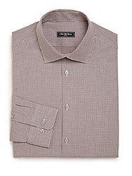 Saks Fifth Avenue Modern Regular Fit Mini Houndstooth Check Patterned Dress Shirt Raspberry