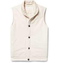 Private White V.C. Cotton And Cashmere Blend Moleskin Gilet Off White