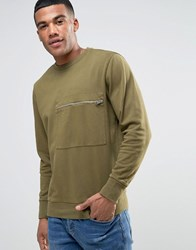 Diesel S Achille Washed Out Sweater Zip Pocket Gr1 Green 1