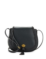 Nanette Lepore Santana Leather Saddle Bag Black Pebbled