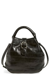 Etienne Aigner Mini Croc Embossed Bucket Bag Grey Black Adige Croco