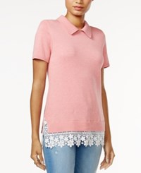 Tommy Hilfiger Lace Trim Knit Top Only At Macy's Pink
