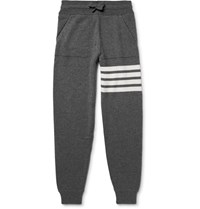 Thom Browne Tapered Striped Cashmere Sweatpants Gray