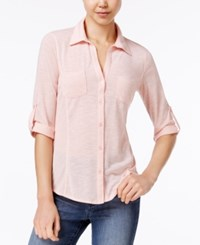 Almost Famous Juniors' Ribbed Panel Utility Top Blush