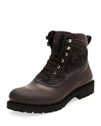 Salvatore Ferragamo Forest All Weather Hiking Boot Gray Brown Grey Brown