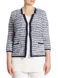 Stizzoli Plus Size Tweed Cropped Jacket Navy