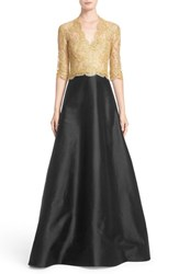 Reem Acra Women's Two Tone Lace And Twill A Line Gown