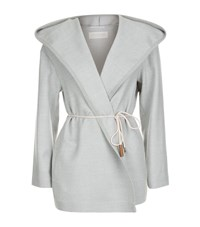 Fabiana Filippi Merino Wool Hooded Drawstring Jacket Female Grey
