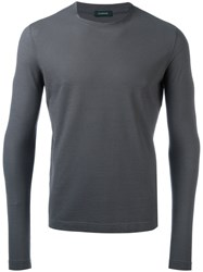 Zanone Round Neck T Shirt Grey