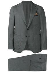 Caruso Checked Formal Suit Grey