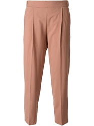 Erika Cavallini Semi Couture Cropped Front Pleat Trousers Pink And Purple