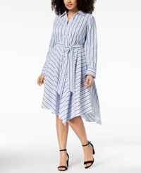 Inc International Concepts I.N.C. Plus Size Striped Asymmetrical Shirtdress Created For Macy's Pleasant Stripe