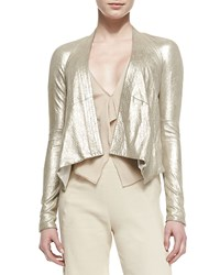 Donna Karan Long Sleeve Cozy Leather Jacket Women's Platinum