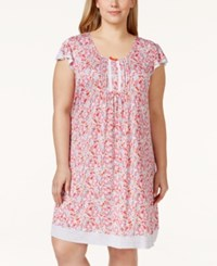 Ellen Tracy Plus Size Flutter Sleeve Paisley Print Nightgown