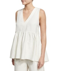 Elizabeth And James Gabby Deep V Neck Ruched Top Ivory