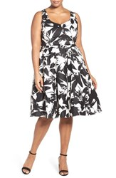 City Chic Plus Size Women's 'Summer Party' Print Fit And Flare Dress