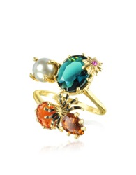 Les Nereides Eclatante Discretion Little Spider Blue Stone And Red Star Ring Gold