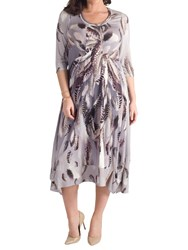 Chesca Feather Print Dress Silver Grey