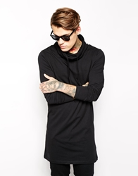 Asos Long Sleeve T Shirt In Super Longline With Cowl Neck Black