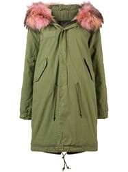 Mr And Mrs Italy Contrast Fur Trim Parka Green