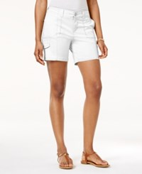 Style And Co Petite Zig Zag Cargo Shorts Only At Macy's Bright White