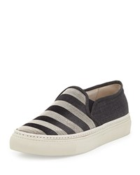 Brunello Cucinelli Monilli Striped Skate Sneaker Anthracite Women's Size 38.5B 8.5B