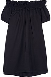Clu Off The Shoulder Brushed Silk And Cotton Blend Dress