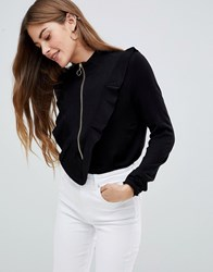 Mbym Zip Front Sweater With Ruffle Sleeve Black