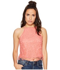 Bishop Young Romanic Lace Tank Top Coral Women's Sleeveless