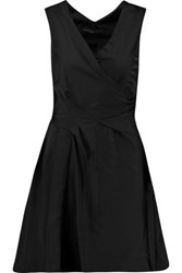 Marc By Marc Jacobs Wrap Effect Pleated Matte Satin Mini Dress Black