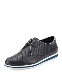 Prada Linea Rossa Perforated Leather Derby Shoe Blue White Blue White