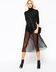 Selected Assie Sheer Midi Pleated Skirt Black