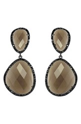 Susan Hanover Women's Semiprecious Stone Drop Earrings Smoky Quartz Gunmetal