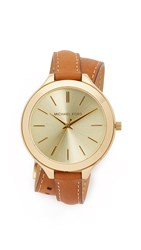 Michael Kors Slim Double Wrap Watch Gold Brown