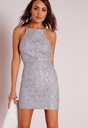 Missguided Lace Square Neck Bodycon Dress Grey Grey